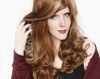 SALE Brown wig | Long Brown wig | Brown White wig | Curly Brown wig | Cosplay wig, Halloween wig, Pin up wig | Aspen Skies