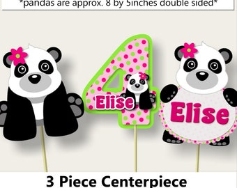 Pink Girl Panda Birthay Party Centerpiece,Panda Baby Shower Decorations, Panda Party Favors, Invitation, Banner, cupcake toppers