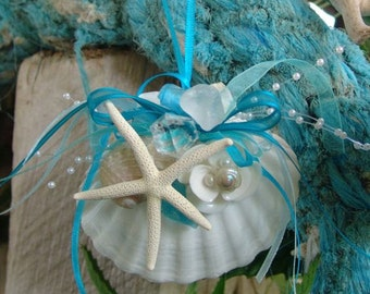 Aqua Coastal Ornaments White Baking Scallop Pearl Abalone & White Finger Star Fish Ornament- Great for Christmas or Sea Inspired Decorating