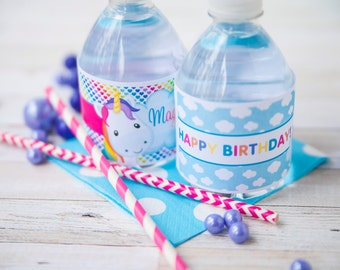 Unicorn Water Bottle Labels - Rainbow Unicorn Drink Labels - Unicorn Bottle Labels - Unicorn Party Decor - Unicorn Birthday - Rainbow Party