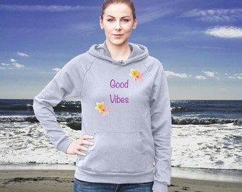 Good Vibes Cotton Hoodie Sweatshirt Fleece Summer Beach Style Fashion Boho Chic You Choose Color by Wave of Life™