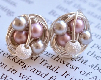 Mix It Up Series- Pink / Silver / Star Dust Earrings - Swarovski Glass Pearls and Stardust bead Wire Wrapped VDazzled Sparkly Studs