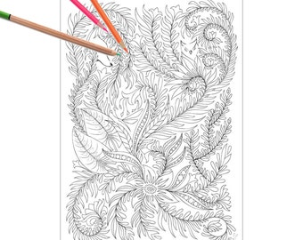 Floral Forest Adult Coloring Page