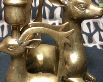 Vintage Brass Deer Art Deco Stylized DEER Caribou Candlesticks  Reindeer Candle Holders Pair