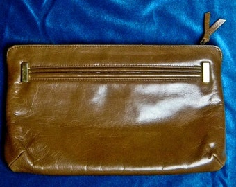 Small Vintage Leather Brown Clutch