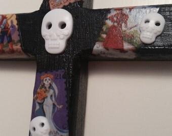OOAK Day of the Dead Dia de Los Muertos Skully Wood Cross mixed media