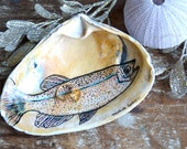 """Engagement Ring Holder Dish, Fish Ring Dish, Jewelry Holder, Gift For Couple, """"White Cloud Mountain Minnow"""" Ink Drawing On A Sea Clam Shell"""