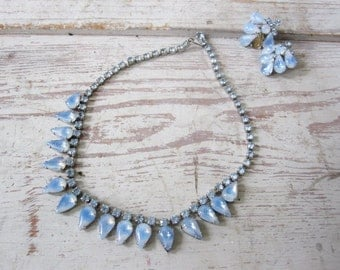 Blue Moonstone and Rhinestone Necklace