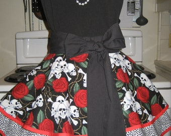 Day of the Dead With Red Trim, Polka Dots and Red Roses Ladies XL Fancy Hostess Half Apron