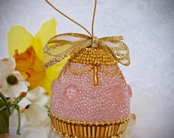 Faberge-like Beaded Egg Ornament Pink Garland