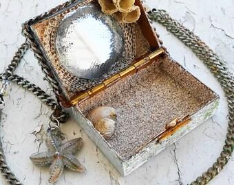 Treasure Chest Nautical Barnackle Seashell Sand Silver Tone Jewelry Necklace