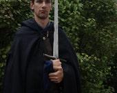 100% Wool Hooded Cloak Deep Navy Blue - Medieval Costume