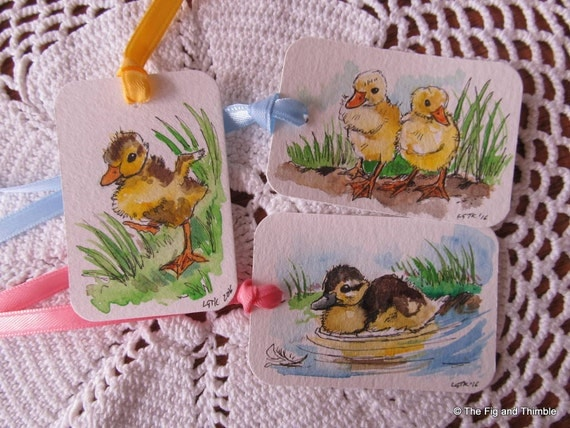 Easter Gift Tags -  Baby Ducks - Handpainted Assorted Set of Six