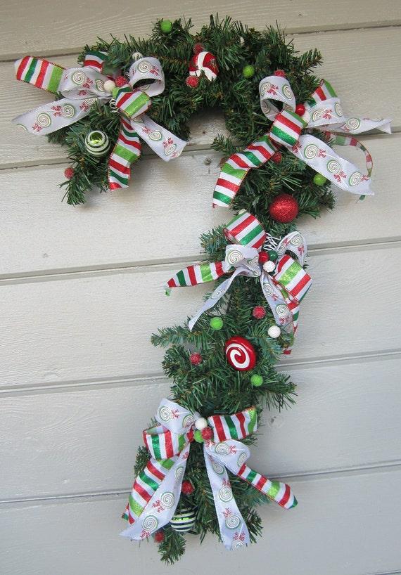 Items Similar To Christmas Wreath Candy Cane Wreath