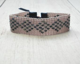 Bead Bracelet - Mauve Bead Bracelet - Adjustable Bracelet - Geometric Bracelet - Purple Bracelet - Bead Woven Bracelet
