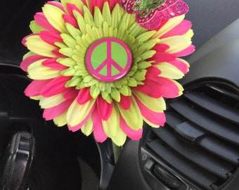 VW Beetle Flower - Pink and Green Peace Daisy