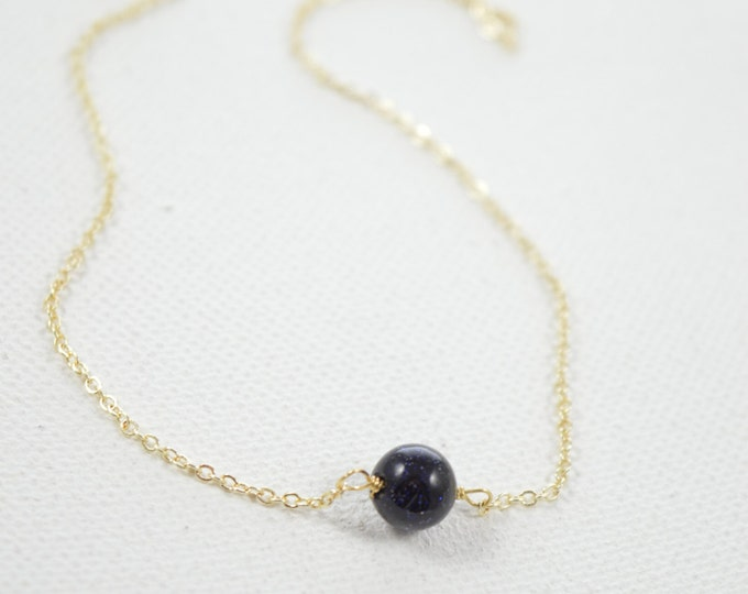 Blue Goldstone Minimal Necklace, Sparkly Necklace, Druzy Gemstone, Layering Layered Necklace, Druzy Jewelry Crystal Necklace
