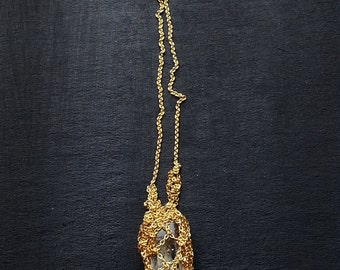 14k gold rough aquamarine crochet necklace