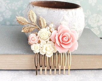 Blush Pink Rose Comb Bridal Hair Comb Flower Hair Piece Bridesmaid Gift Pantone Rose Quartz Romantic Gold Branch Cream Floral Collage Comb