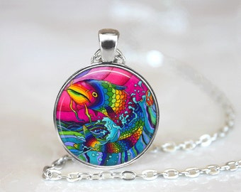GlassTile Necklace Fish Necklace Glass Tile Jewelry Fish Jewelry Sea Life Silver Necklace Silver Jewelry Black Jewelry Brass Jewelry