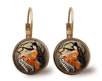 Halloween Jewelry Halloween Earrings Witch Earrings Witch Jewelry Brass Jewelry Holiday Jewelry Beaded Jewelry Silver Jewelry Silver Earring