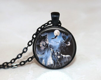Glass Tile Necklace Wolf Necklace  Moon Necklace Glass Tile Jewelry Eagle Jewelry Eagle Necklace Animal Jewelry Moon Jewelry Wolf Jewelry