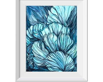Fine Art Print, Abstract Painting, Seascape Painting, Abstract Coral, Original Abstract Painting, Blue Teal Painting, Water Painting, GICLEE