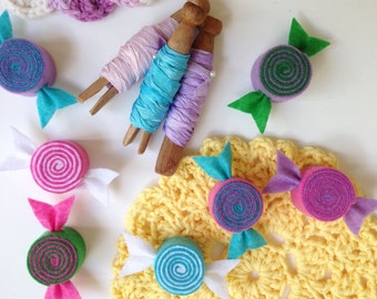 Felt Candies (Set of 4) - Home Decor, Gifts, Banners, Garland, Birthday Favor, Candy Fun, Pretend Food, Bakery, Summer Decor, Photo Prop