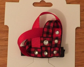 Red Plaid Woven Heart Clippie - Valentine's Clippie - Love Clippie