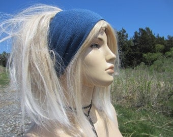 Knit Headband WIDE Blue Hair band Head Warmer Cotton Cashmere Men's and Women's Tube Hat A1149