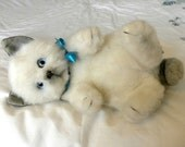 Real Soft Toys Cat - White Kitten - Toy Cat - Real Soft Toys Cat on Back - Old Toy Cat