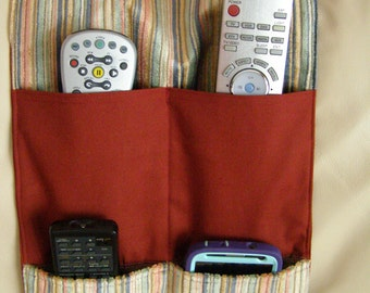 Remote Control Caddy 4 pocket Pastel Upholstery Stripe Organizer Caddy