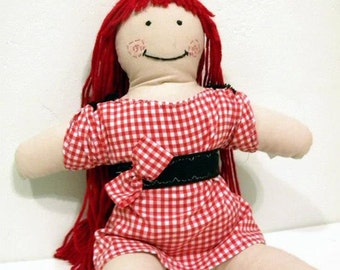 Doll girl figure fabric toy handmade stuffed doll red hair doll smiling face checkered fabric girl toy decor bow