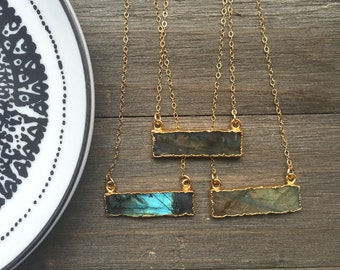 Labradorite Bar Necklace // 14k Gold Fill // Dainty