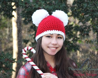 Christmas Hat, Adult Christmas Hat, Holiday Hat, Women's Christmas Hat, Santa Hat, Double Pom Pom Hat, Red Hat with Pom Poms