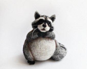 Needle felted raccoon, fat raccoon