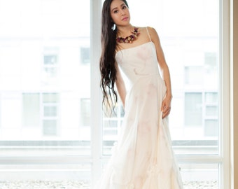 Floral Wedding Dress Romantic, Long, MERCI BEAUCOUP, Silk Chiffon and Silk/Cotton Voile