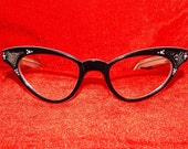 Cute vintage cat eye 50's glasses frames black white clear Lucite rhinestones dots bombshell pin up sunglasses France
