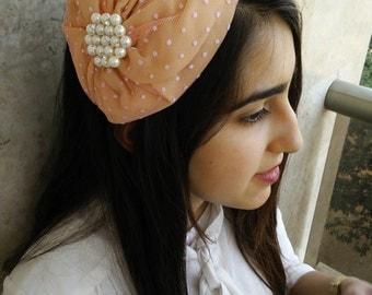 Pearls vintage ribbon tiara ,studded bow,by oshratdesignz