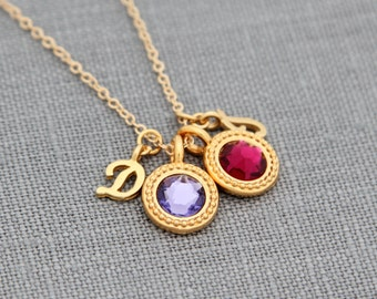 Gold Personalized Initial Necklace, Mother's Necklace, Custom Birthstone Necklace, Initial Jewelry, Personalized Gift for Grandma