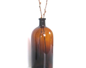 Vintage Extra Large Amber Apothecary Bottle // Vase // Home Decor // Chesmist // Cottage // Boho
