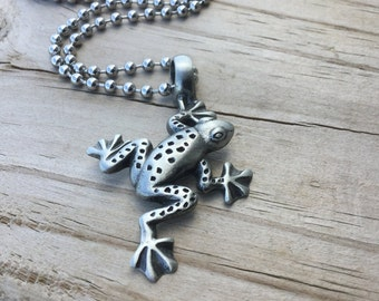 Men's Frog Necklace- Men's Necklace with Frog Charm on Chain of your choice