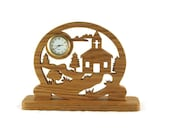 Church & Country Scene Deck Or Shelf Clock Handmade From Oak Wood By KevsKrafts