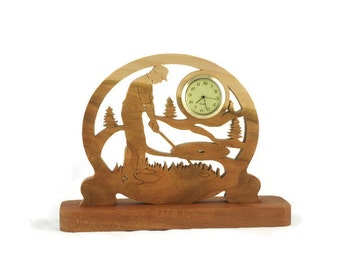 Male Golf Scene Desk Clock Handmade From Cherry Wood, Golfing Clock, Golfer Clock, Desk Clock