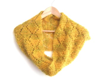 Mohair cowl , snugly knitted lace scarf in yellow / green mix mohair yarn ,winter accessories, circle scarf , gift for her , hand knit scarf
