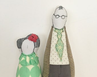 Family Portrait -Couple Dolls - he high with glasses jacket and tie in earth tones,she is lower in mint green circles dress , timo-handmade