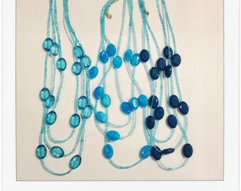 The Kinsey Necklace in CERULEAN | Triple Strand Necklace | Seed Bead Necklace | Three Layer Necklace | Faceted Bead Necklace | Ocean Blue