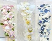 Bridal flower crown boho wedding flower crown, choose your color... bridal ivory flower crown, bridal pink flower crown, blue flower crown