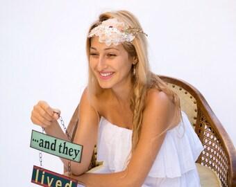Boho wedding headpiece, bridal headpiece, boho floral crown, rustic bridal crown, bohemian headband, wedding head piece, bridal hair wreath