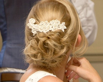 Ivory lace hair piece pearl and lace bridal hair comb ivory lace hair comb wedding lace hairpiece bride hair wedding comb flower hair piece